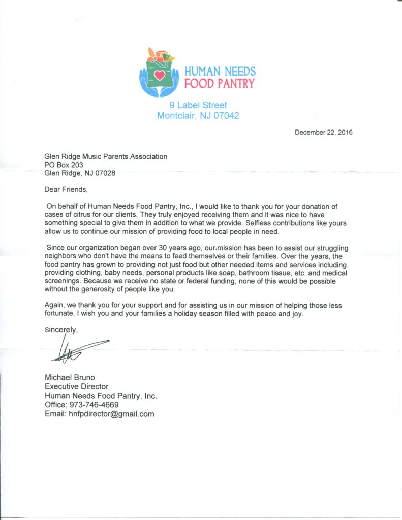 Human Needs Pantry Thank You Letter Dec 16