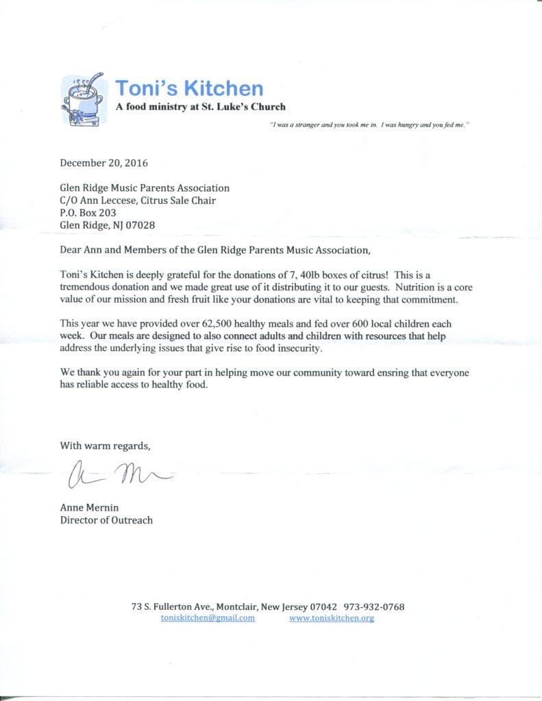 Toni's Kitchen Thank You Letter Dec 16